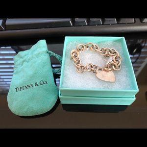 Tiffany silver initial heart bracelet